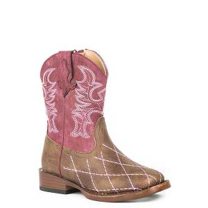 Roper Toddler Cross Cut Square Toe Cowgirl Boots