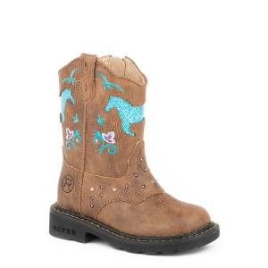 Roper Toddler Girls Horse Flowers Western Dazzle Lights Boots