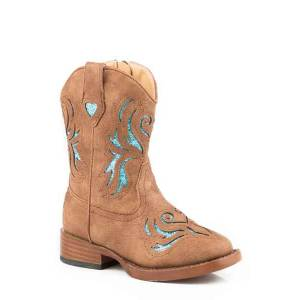 Roper Toddler Glitter Breeze Bling Wide Square Toe Cowgirl Boots