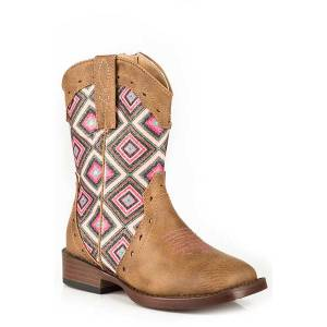 Roper Toddler Glitter Geo Bling Wide Square Toe Cowgirl Boots