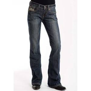 Stetson Ladies 816 Candelabra Deco X Stitch Pockets Classic Boot Cut Jeans