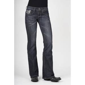 Stetson Ladies 816 Fit Thread & Rhinestone Detail Back Pockets Flared Leg Jeans