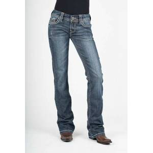 Stetson Ladies 818 Contemporary Styling Arrow Deco Pockets Boot Cut Jeans