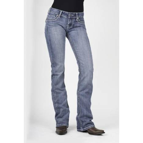Stetson Ladies 818 Fit S Embossed Button Flap Back Pocket Boot Cut Jeans