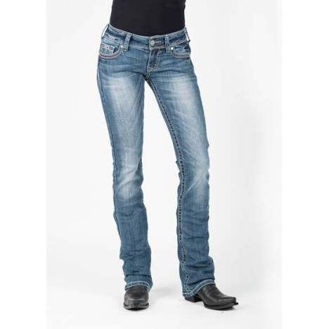 Stetson Ladies 818 Fit Script S Deco With Aztec Coin Side Seam Boot Cut Jeans