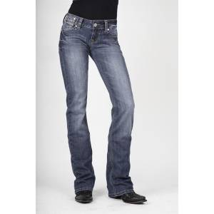 Stetson Ladies 818 Fit Vtrsm Stylized X Line Stitch Back Pocket Boot Cut Jeans