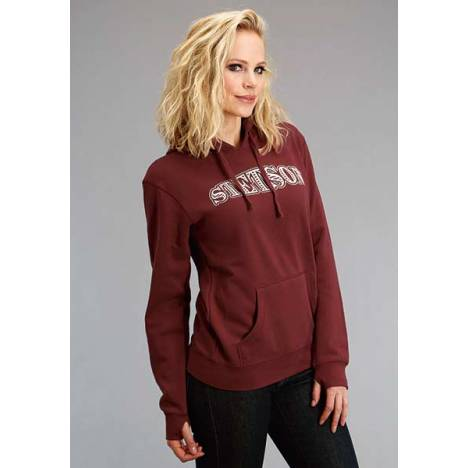 Stetson Ladies Applique Pocket Hooded Sweatshirt - White/Wine