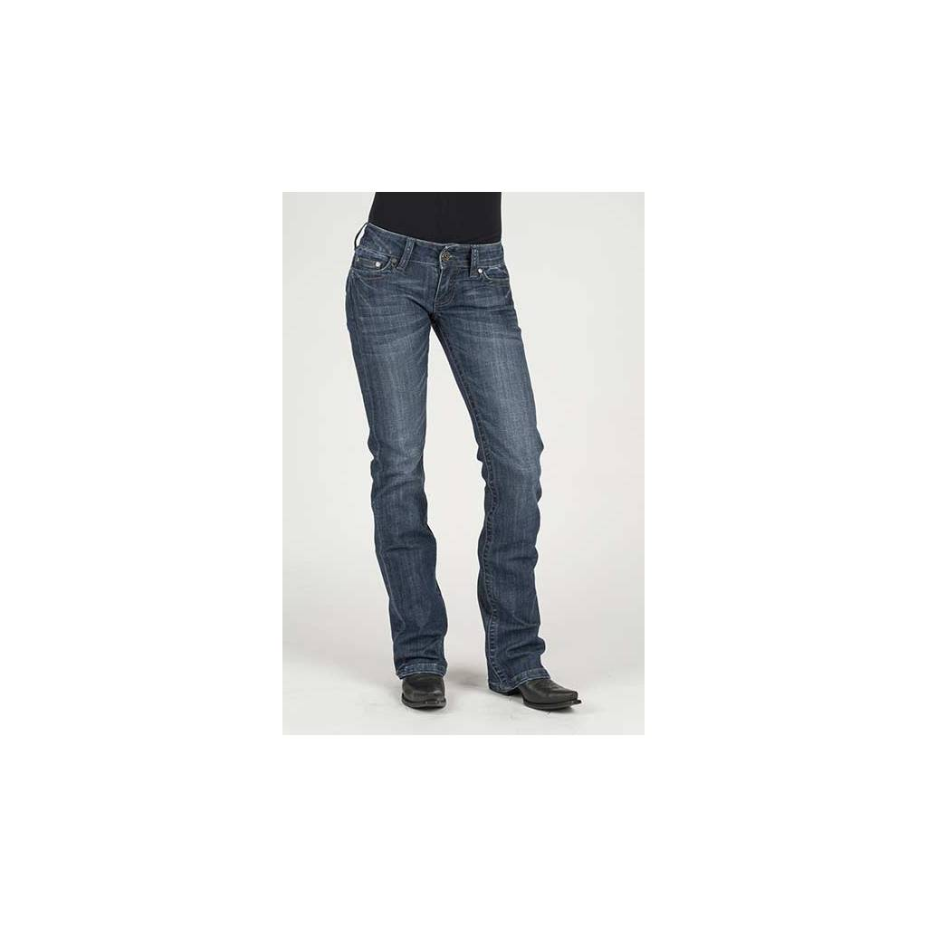 Stetson Ladies Braided Rope Back Pocket Flared Leg Jeans