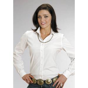 Stetson Ladies C1 End On End Long Sleeve Button Shirt - White
