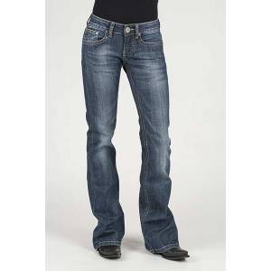 Stetson Ladies Contrast Thick Yarn Embrd Deco Back Pocket Flared Leg Jeans