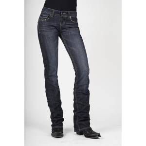 Stetson Ladies Dark Wash Heavy Contrast Stitching Boot Cut Jeans
