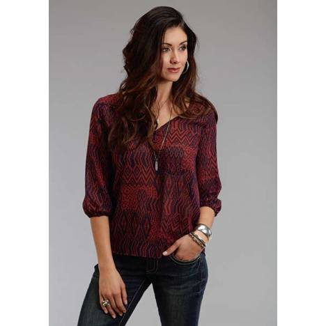 Stetson Ladies Fall I NatIVe Patchwork V Neck Blouse