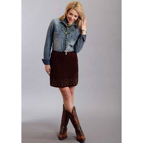 Stetson Ladies Fall I Suede Lamb Skirt With Nailheads