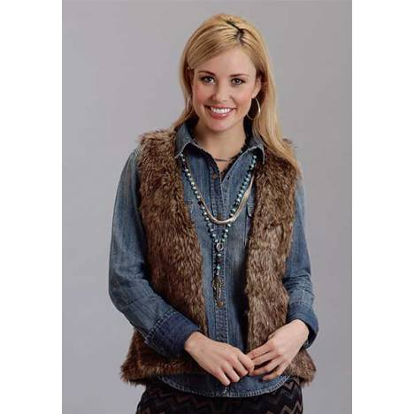 Stetson Ladies Fall II Faux Fur Cropped Vest - Brown