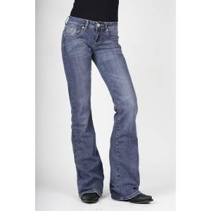 Stetson Ladies Light Wash Heavy Stitch Studded Pocket Flared Leg Jeans