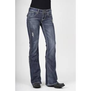 Stetson Ladies Medium Wash Heavy Thick Contrast Top Stitch Flared Leg Jeans