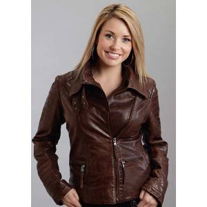 Stetson Ladies Moto Style Lamb Leather Jacket