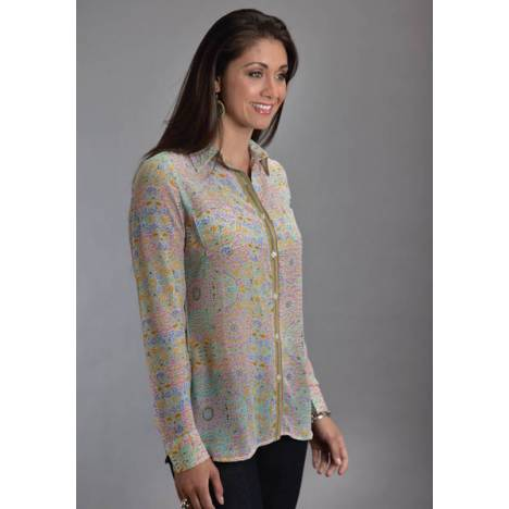 Stetson Ladies Spring II Mosaic Mirror Border Chiffon Blouse
