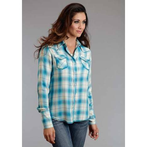 Stetson Ladies Spring II Rayon Twill Plaid Long Sleeve Snap Shirt