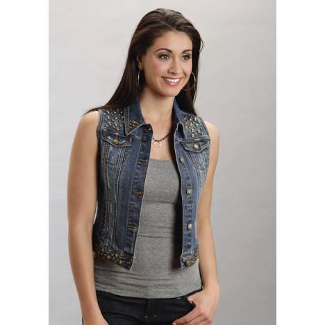Stetson Ladies Spring III Denim Vest Jacket With Studding