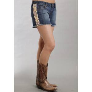 Stetson Ladies Spring III Printed Side Panels Denim Shorts