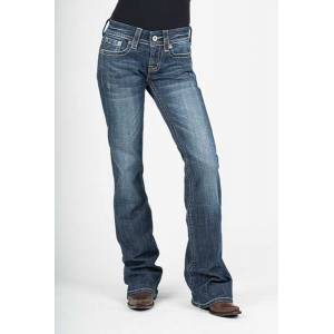 Stetson Ladies 816 Plain Deco Gold Design Around Pocket Classic Boot Cut Jeans
