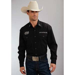 Stetson Mens 150Th AnnIVersay Solid Poplin Long Sleeve Shirt - Black