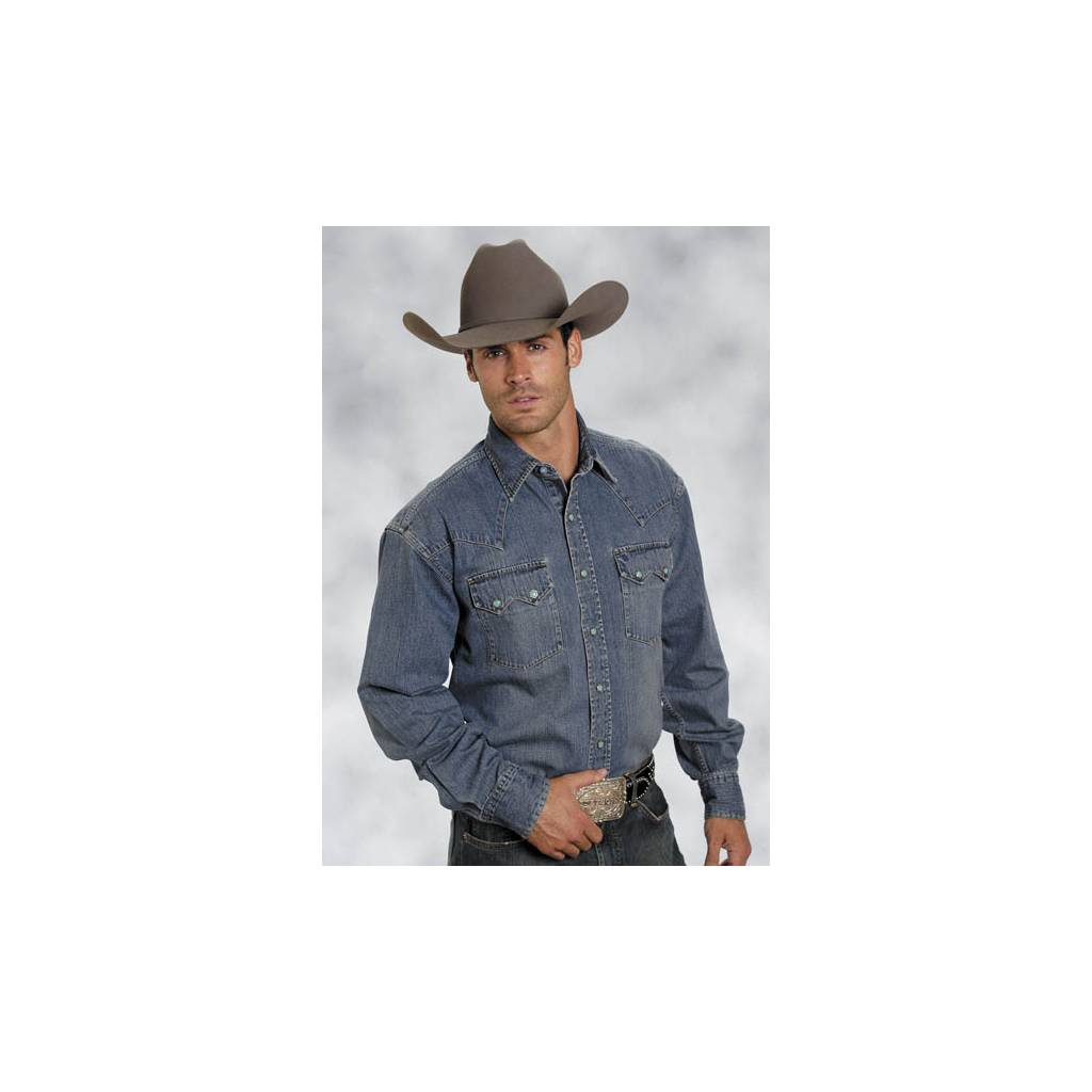 5d42f8200b Stetson Blue Lagoon Denim Deep Curved Yoke Long Sleeve Snap Shirt