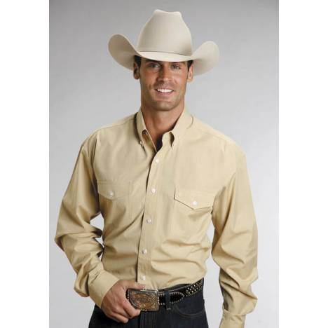 Stetson Mens C2 End On End Long Sleeve Button Shirt - Gold
