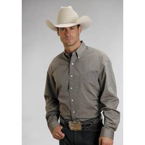 Stetson Mens C3 End On End Pocket Long Sleeve Shirt - Brown