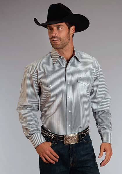 751214f4 Stetson Mens Candy Stripe Long Sleeve Snap Shirt Grey
