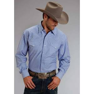 Stetson Mens Candy Stripe Long Sleeve Snap Shirt - Periwinkle