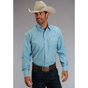 Stetson Mens Candy Stripe Long Sleeve Snap Shirt - Turquoise