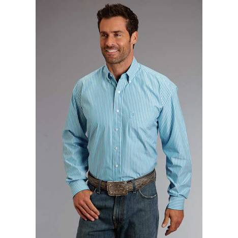 Stetson Mens Candy Stripe Pocket Long Sleeve Button Shirt - Turquoise