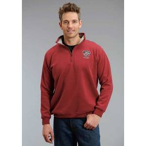 Stetson Mens Crest Applique Mock Neck Zipper Hoodie