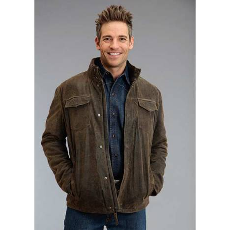 Stetson Mens Distress Lamb Leather Jacket - Brown