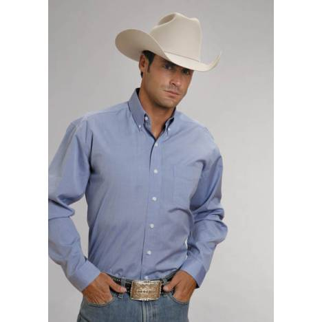 Stetson Mens End On End Pocket Long Sleeve Button Shirt - Light Blue