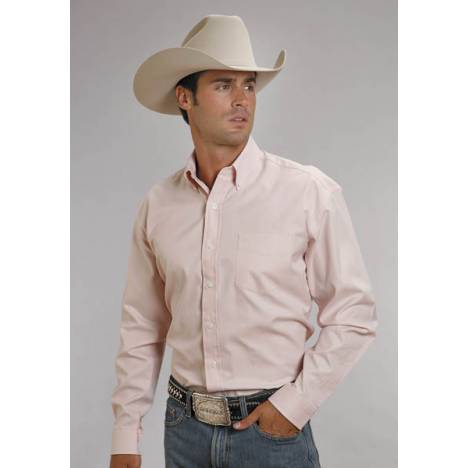Stetson Mens End On End Pocket Long Sleeve Button Shirt - Pink