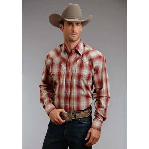 Stetson Mens Fall I Fire Ombre Long Sleeve Snap Shirt