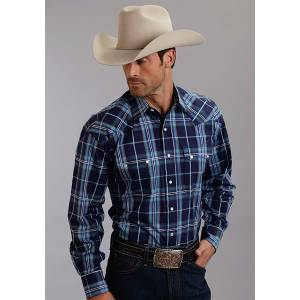 Stetson Mens Fall I Midnight Plaid Long Sleeve Snap Shirt