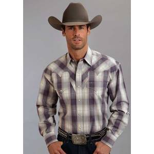 Stetson Mens Fall III Avon Ombre Long Sleeve Snap Shirt