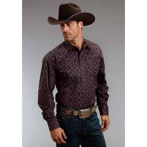 Stetson Mens Fall III Gothic Paper Print Long Sleeve Snap Shirt