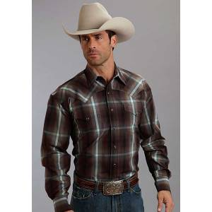 Stetson Mens Fall IV Ombre Long Sleeve Snap Shirt - Mahogany