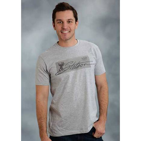 Stetson Mens Heathered Stetson Label T-Shirt