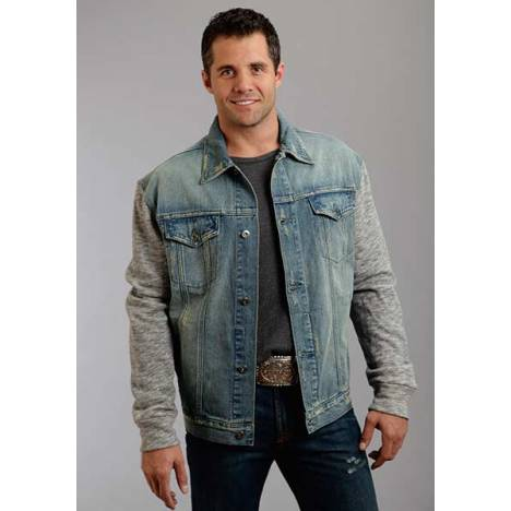 Stetson Mens Holiday Knit Sleeve Stretch Denim Jacket