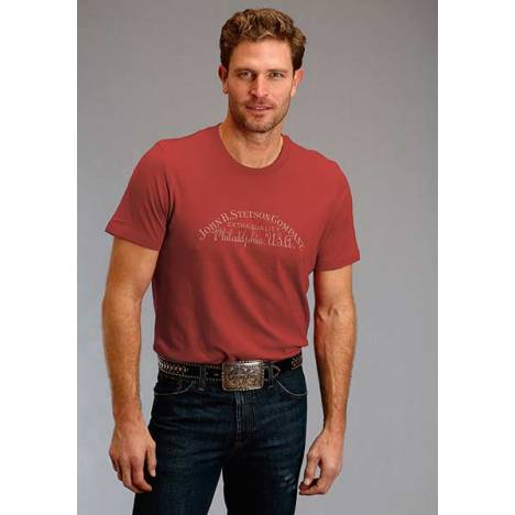 Stetson Mens John B Stetson Phily USA Screen Print T-Shirt - Red