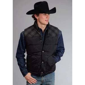 Stetson Mens Nylon Vest With Wool Blend Plaid Yokes