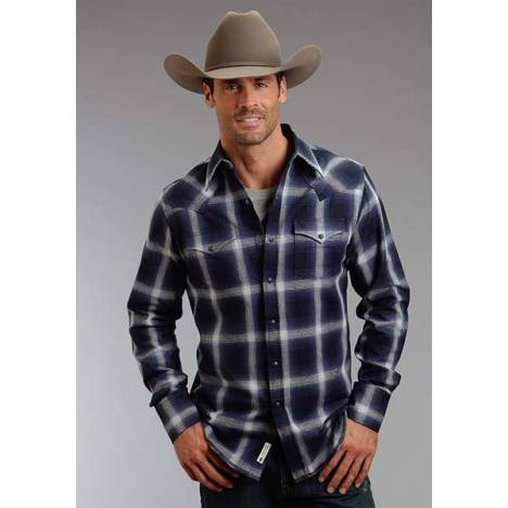 Stetson Mens Original Rugged Blue Box Plaid Long Sleeve Snap Shirt