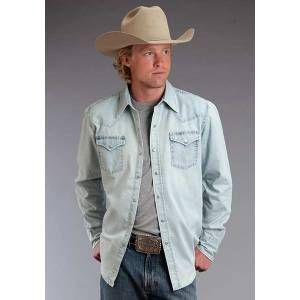 Stetson Mens Original Rugged Curved Back Yoke Denim Long Sleeve Snap Shirt