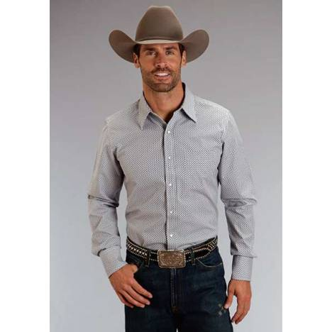 Stetson Mens Original Rugged Dobby Checks Long Sleeve Snap Shirt